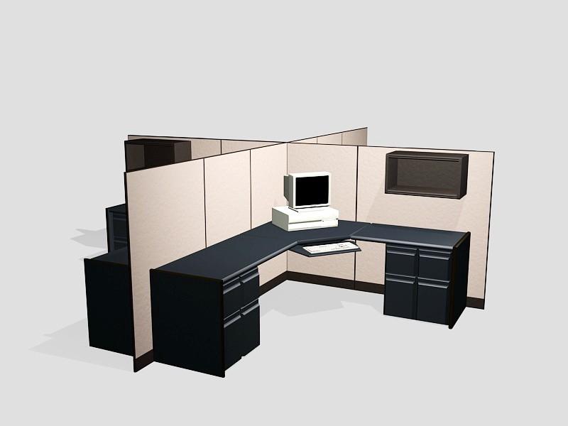 Four Person Cubicle Desk Set 3d rendering