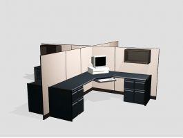 Four Person Cubicle Desk Set 3d model preview