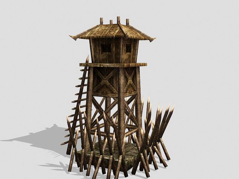 Medieval Guard Tower 3d rendering