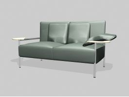 Dark Green Leather Loveseat 3d preview