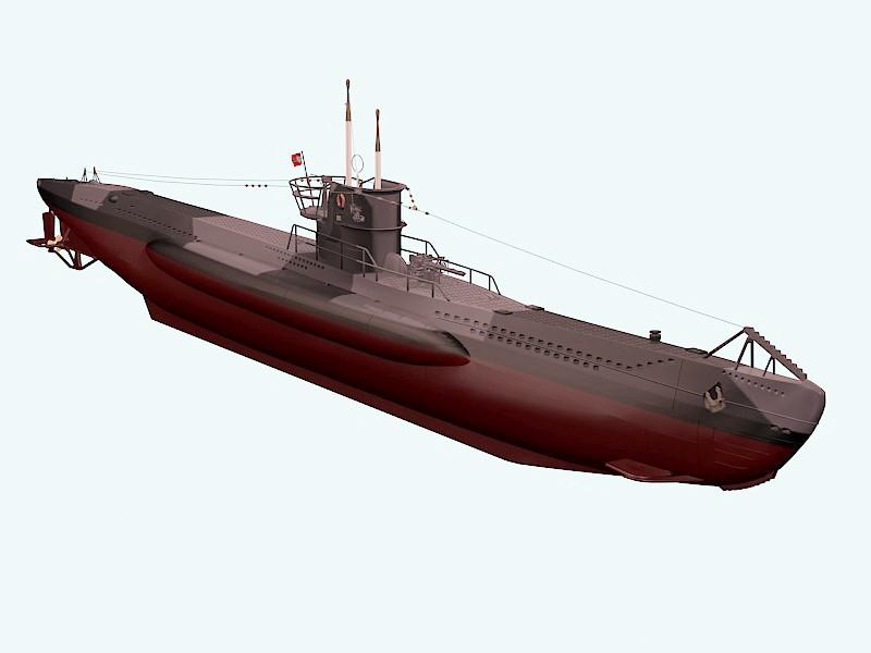 German U-7 Submarine 3d rendering
