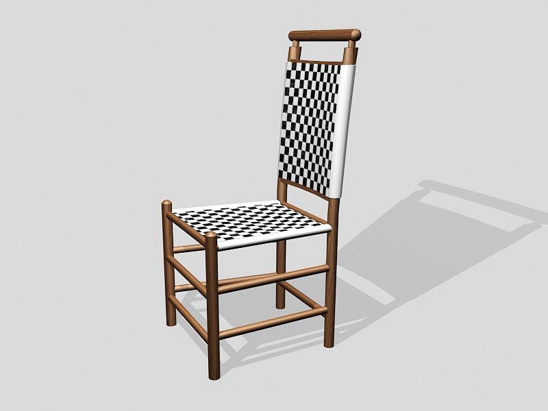 Dark Wood Dining Chair 3d rendering