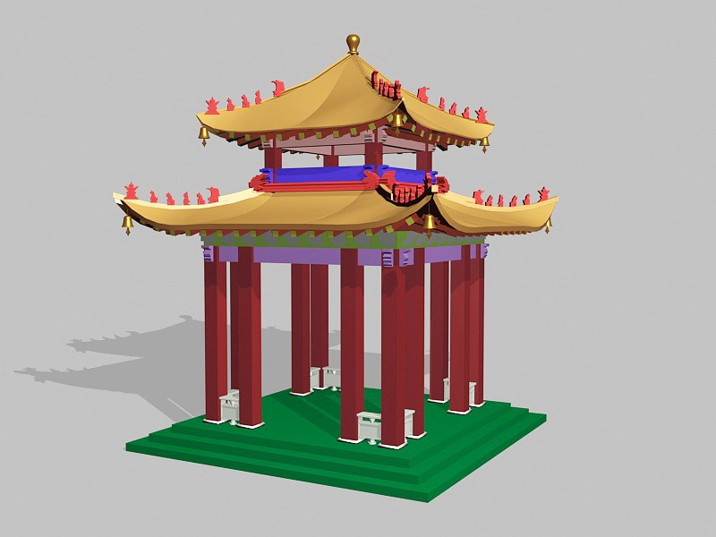 Chinese Pavilion 3d rendering