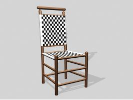 Dark Wood Dining Chair 3d preview