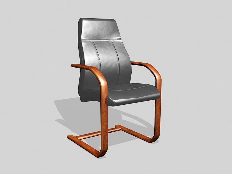 Wooden Desk Chair 3d rendering
