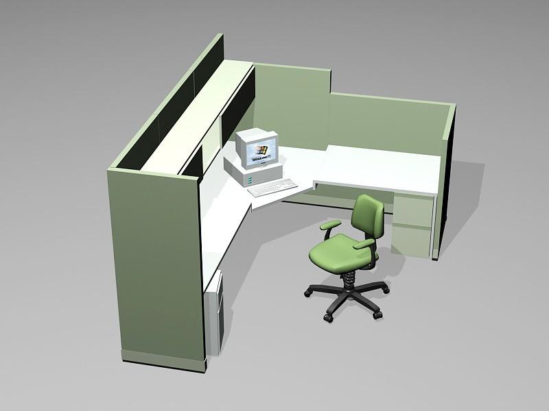 Office Desk Cubicle 3d rendering