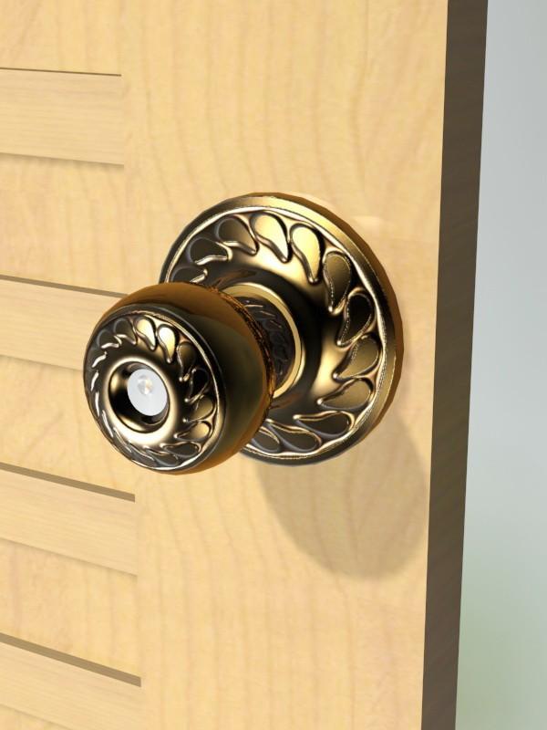 Ornate Brass Door Knob 3d rendering