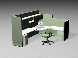 Office Desk Cubicle 3d model preview