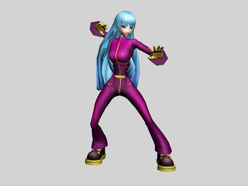 Cute Anime Girl Fighter 3d rendering