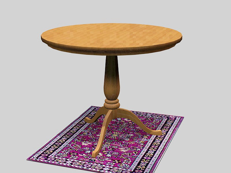 Round Wood Dining Table 3d rendering