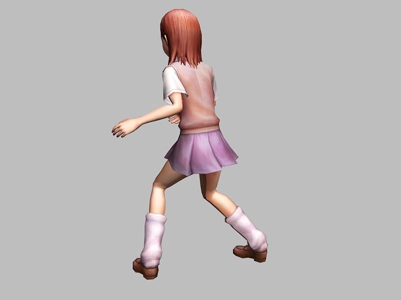 Adorable Anime Girl 3d rendering