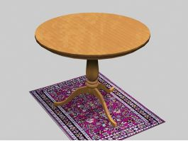 Round Wood Dining Table 3d preview