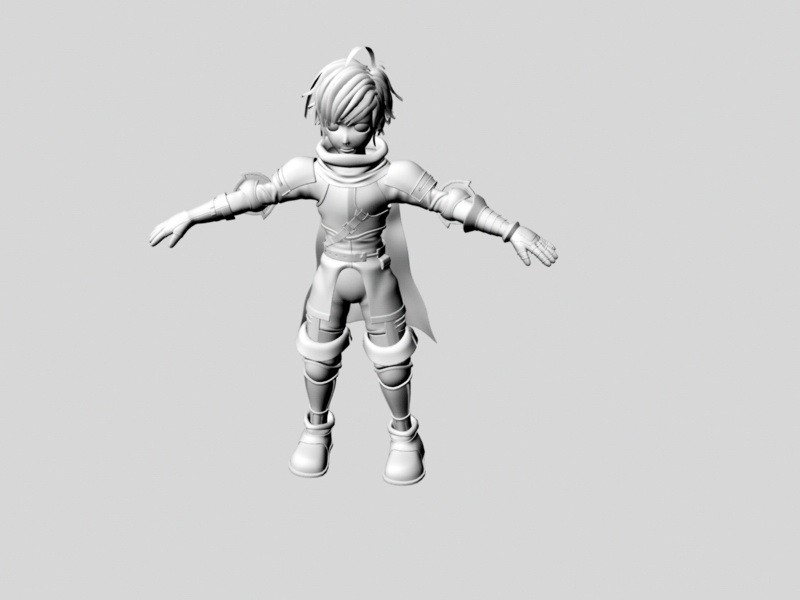 Anime Fighter Boy 3d rendering