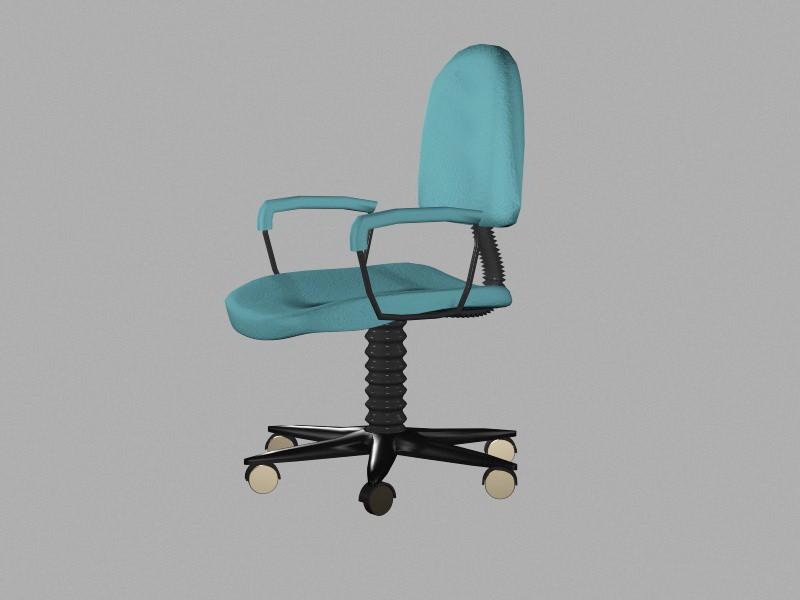 Blue Office Chair 3d rendering