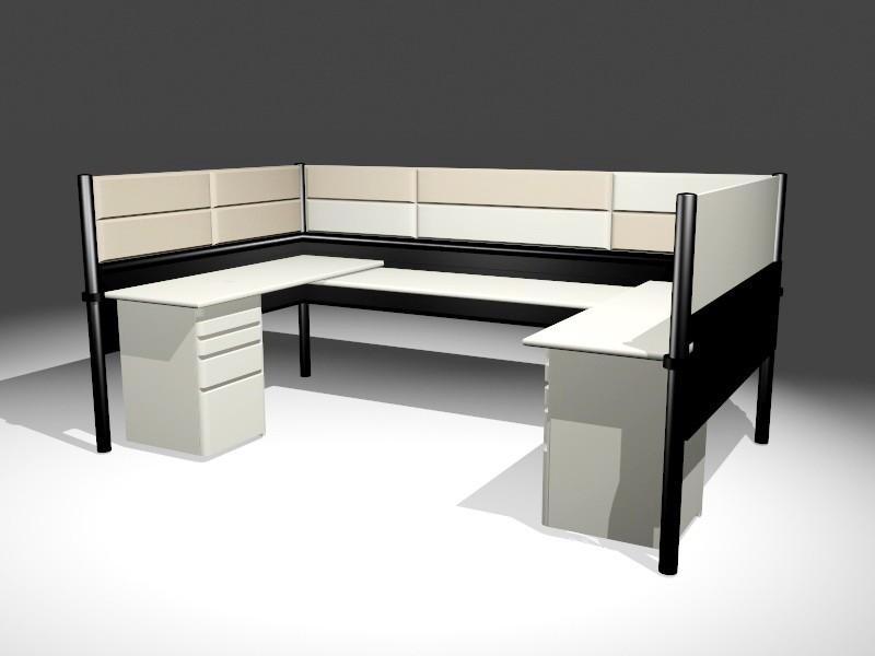 Modular Office Workstations 3d rendering