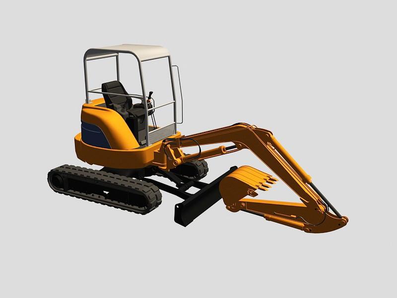 Hitachi Mini Excavator 3d rendering