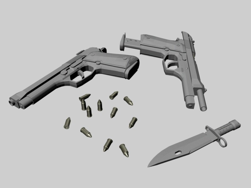 Guns & Ammo 3d rendering