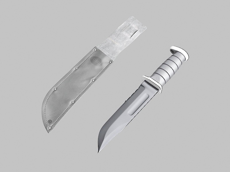 Ka Bar Combat Knife 3d rendering