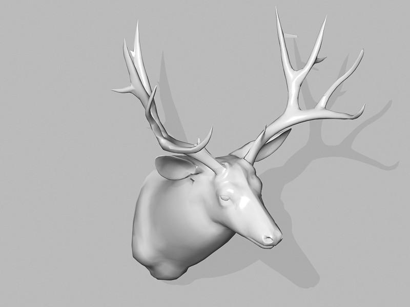 Mule Deer Head Wall Mount 3d rendering