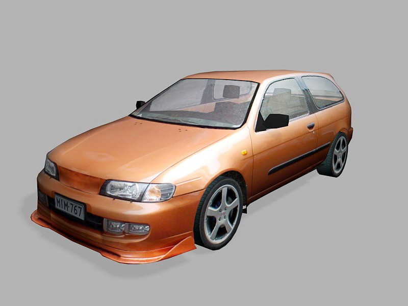 Nissan Micra Hatchback Low Poly 3d rendering