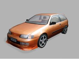 Nissan Micra Hatchback Low Poly 3d model preview