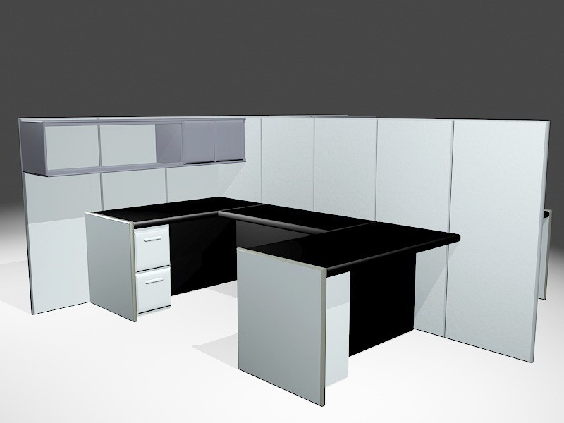 Office Workstation Cubicle Partitions 3d rendering