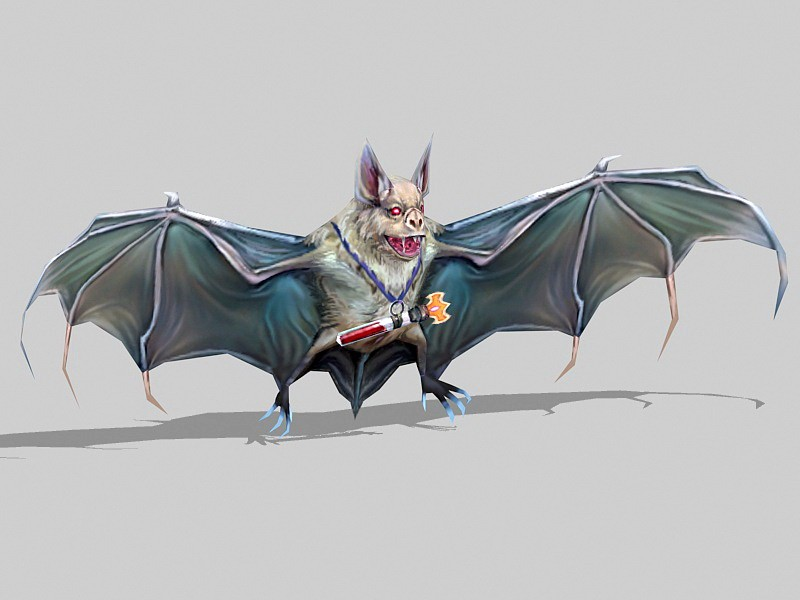Evil Bat Monster Low Poly 3d rendering