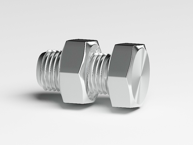 Bolt with Nut 3d rendering