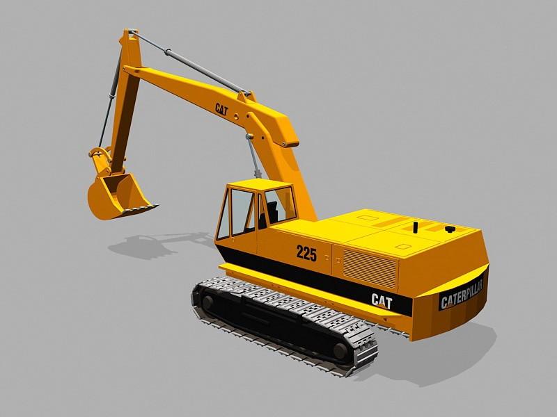 Cat 225 Excavator 3d rendering