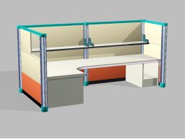Small Office Cubicle 3d model preview