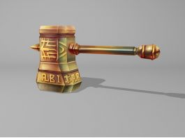 Dwarf Hammer Weapon Low Poly 3d preview