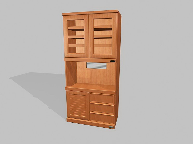 Wood Kitchen Vupboard 3d rendering