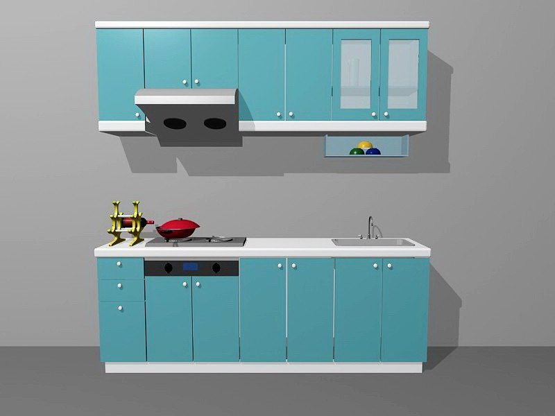 Small Apartment Kitchen Units Blue 3d rendering