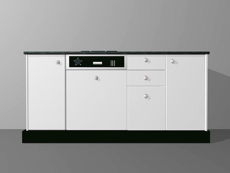 White Kitchen Cabinet Ideas 3d rendering