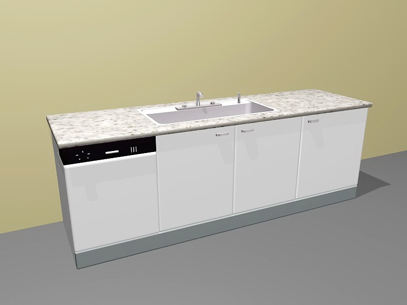 Small Apartment Kitchen Units 3d rendering
