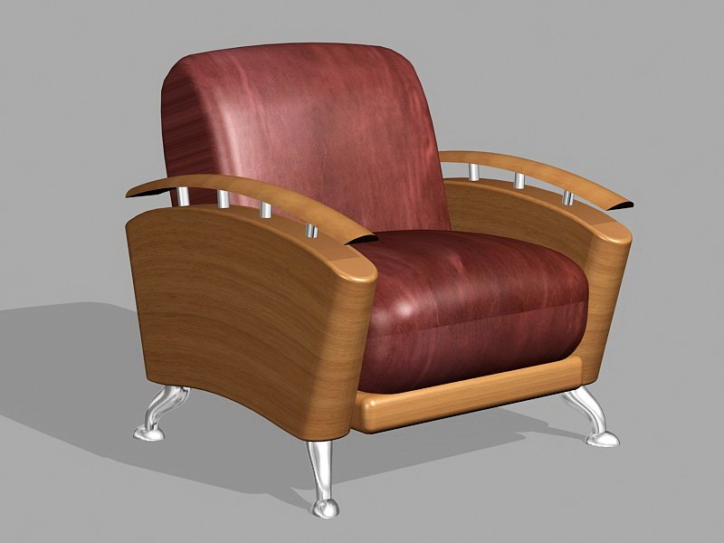 Brown Leather Accent Chair 3d rendering