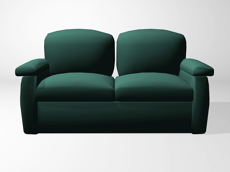 Emerald Green Loveseat 3d rendering