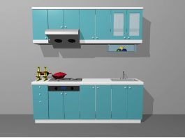 Small Apartment Kitchen Units Blue 3d preview