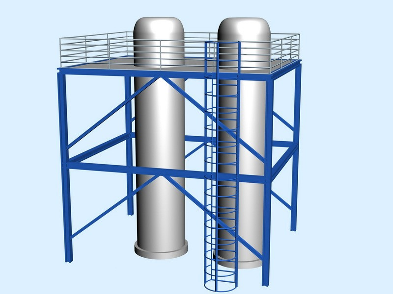 Industrial Silo Storage Tower Silos 3d rendering