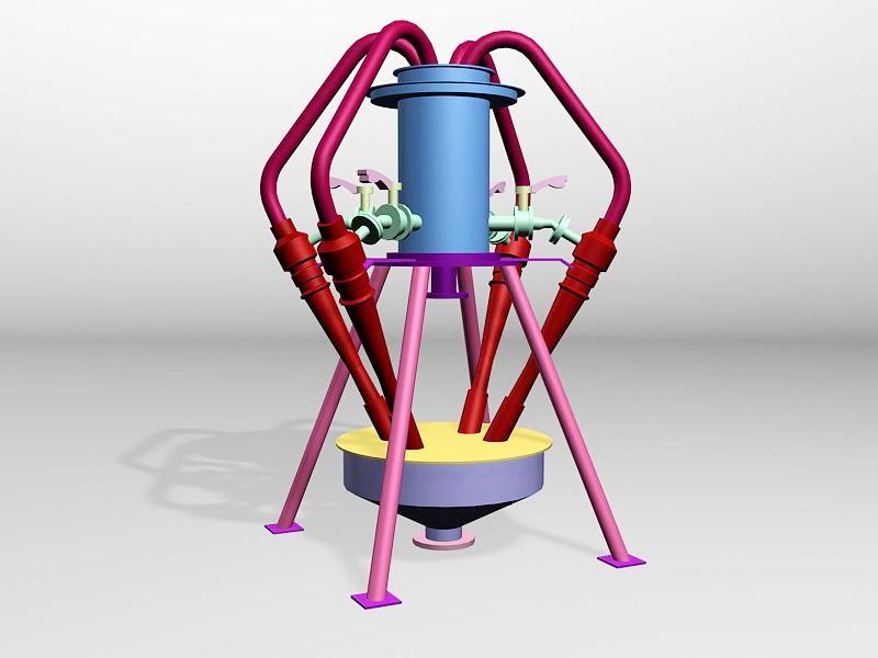 Industrial Hydrocyclone 3d rendering