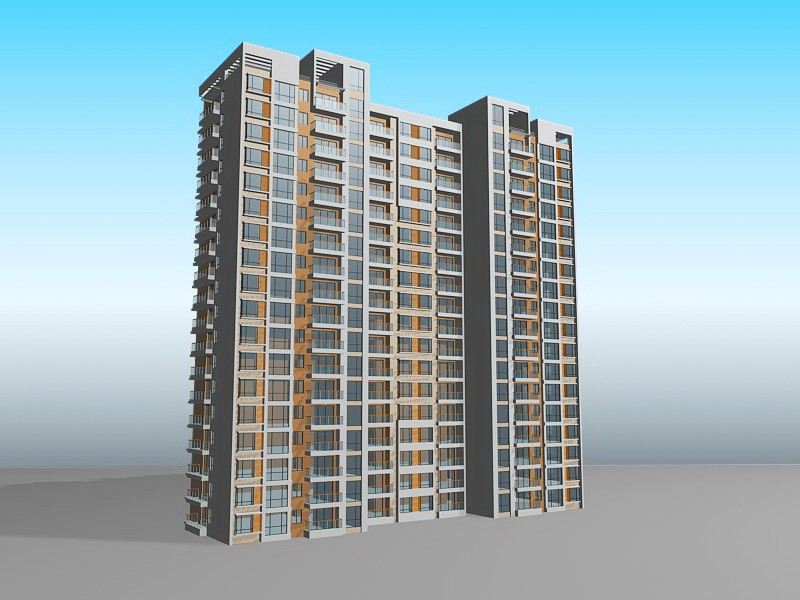 High-rise Apartment Buildings 3d rendering
