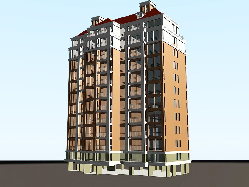 Tall Apartment Building 3d rendering