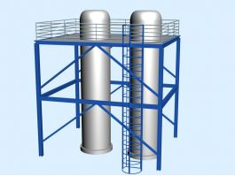 Industrial Silo Storage Tower Silos 3d preview