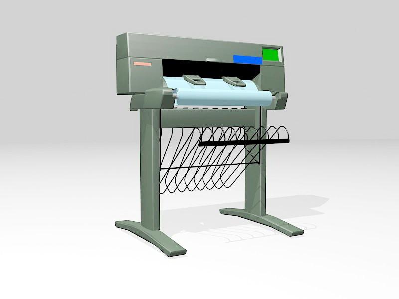 Old Plotter Printer 3d rendering