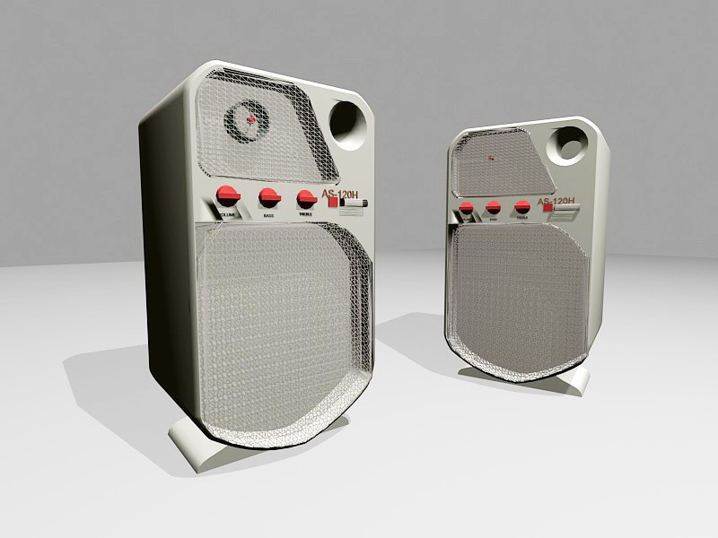 Small Computer Speakers 3d rendering