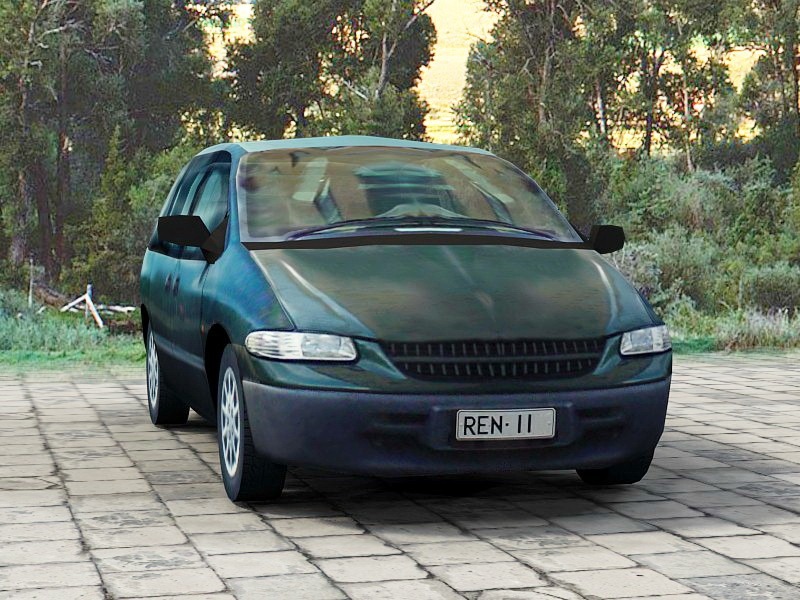 Blue Station Wagon Car Low Poly 3d rendering