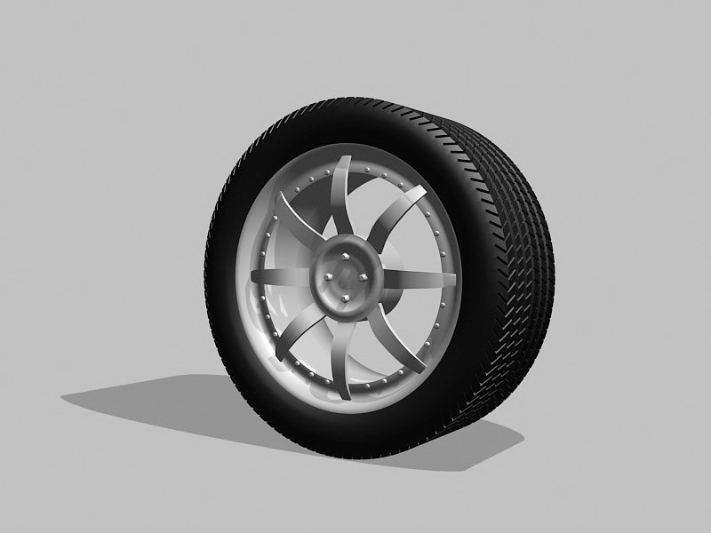 Wheel And Tire Assembly 3d rendering