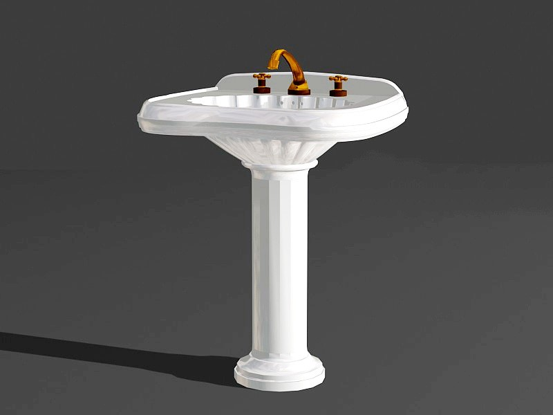 Pedestal Wash Hand Basin 3d rendering