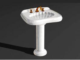 Pedestal Wash Hand Basin 3d preview