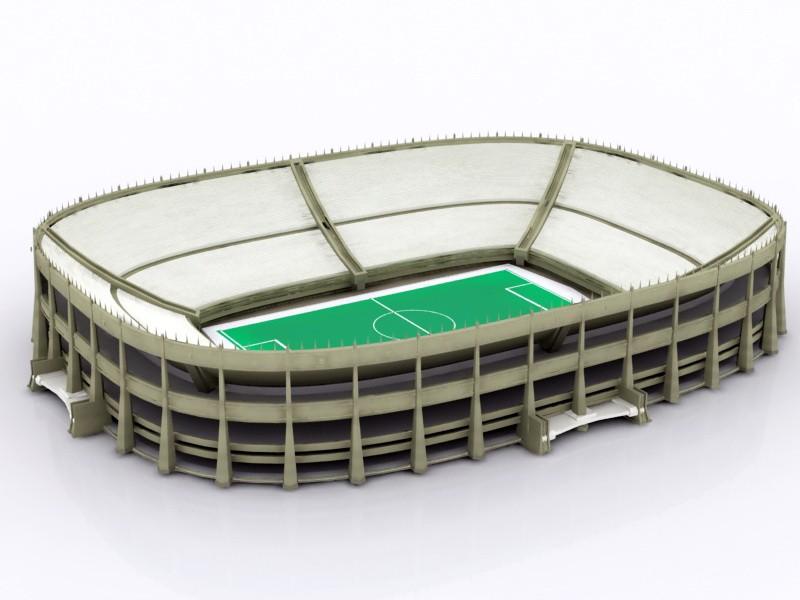 Football Field Stadium 3d rendering